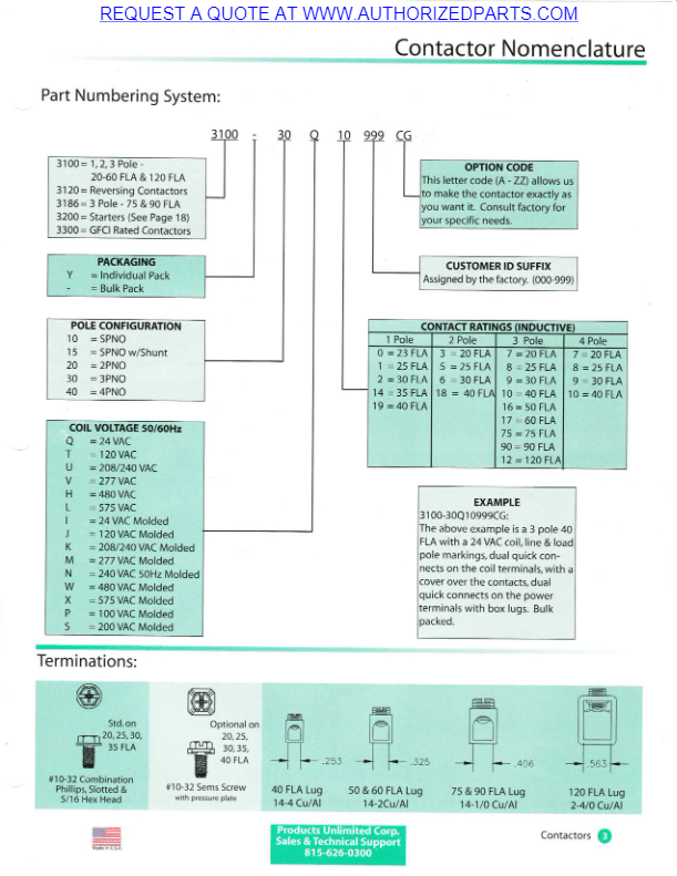 Products Unlimited 3100 Series Contactor Ordering Code