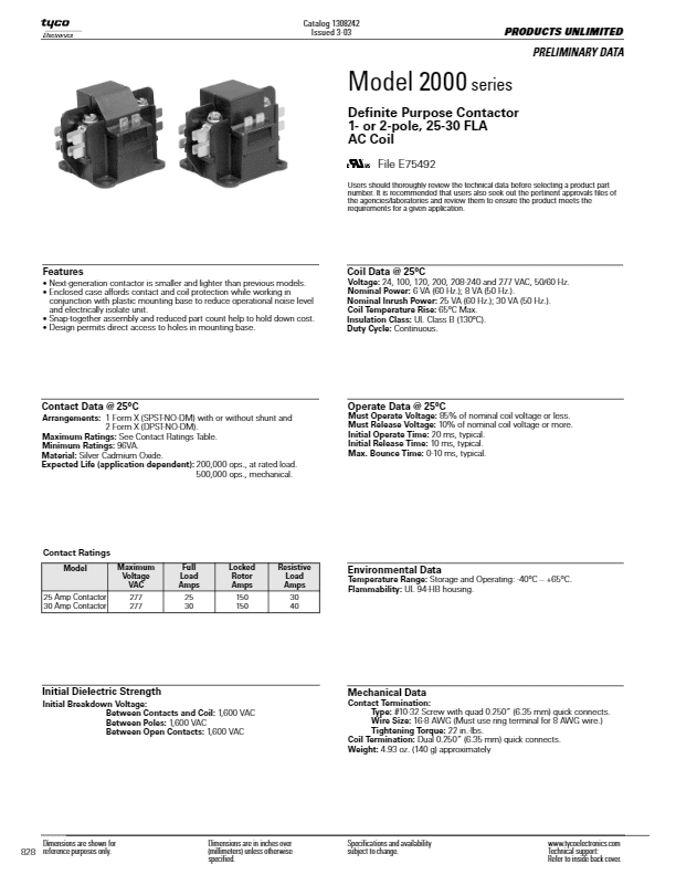 TYCO / Products Unlimited Model 3100 & 3186